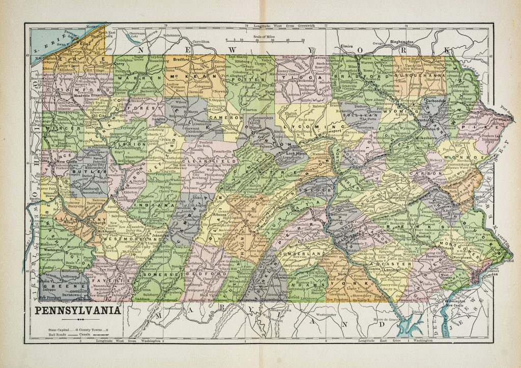 Map of the state of Pennsylvania